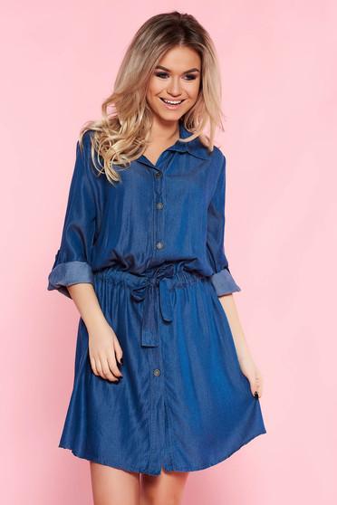 Kék SunShine casual bő szabású ruha lenge anyagból övvel ellátva