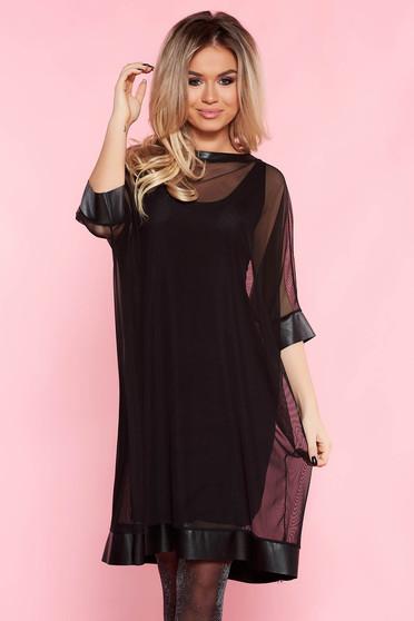 Fekete SunShine bő szabású tüll party ruha belső béléssel szintetikus bőr díszítések