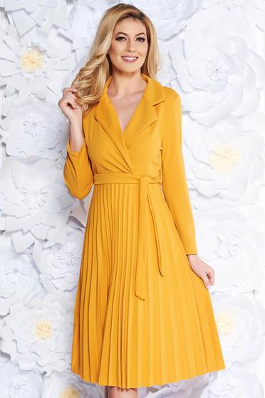 Sárga SunShine hétköznapi rakott harang ruha enyhén rugalmas anyag övvel ellátva