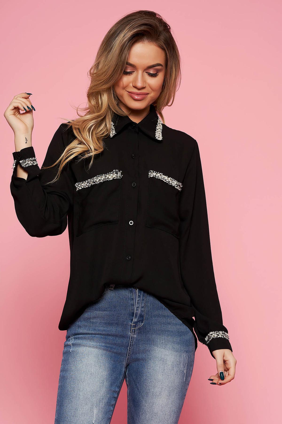 e15a619e58 Fekete SunShine elegáns bő szabású női ing fátyol anyag hosszú ujjak
