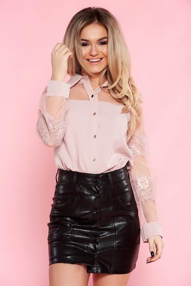 Rózsaszínű SunShine elegáns bő szabású női ing nem rugalmas anyag csipke ujj