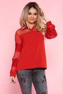 Piros SunShine elegáns bő szabású női ing nem rugalmas anyag csipke ujj 6b16bd1441