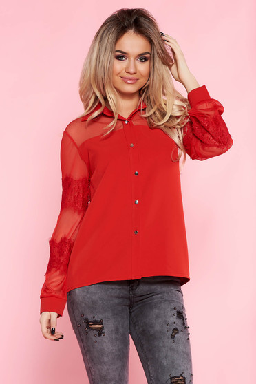 e4155010b6 Piros SunShine elegáns bő szabású női ing nem rugalmas anyag csipke ujj