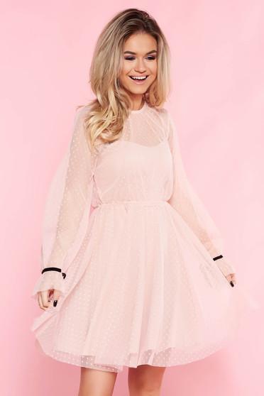 Rózsaszínű SunShine casual tüll harang ruha belső béléssel szivacsos mellrész