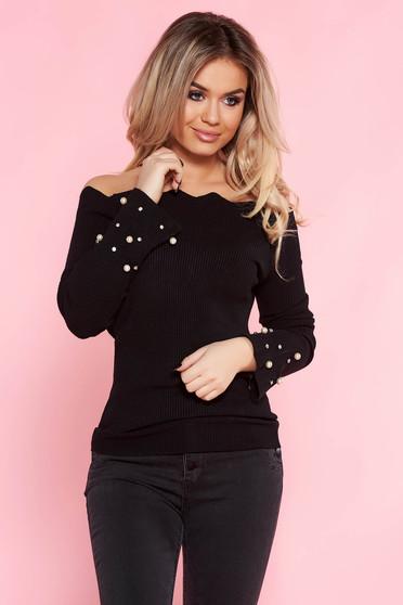 Fekete SunShine casual pulóver szűk szabás kötött anyag gyöngy díszítéssel