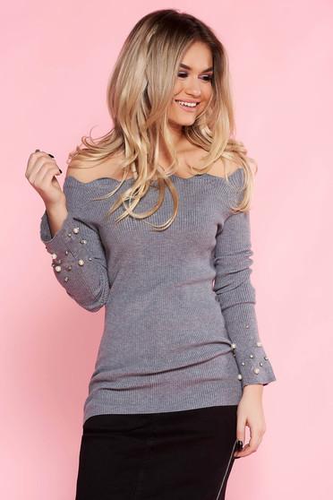 Szürke SunShine casual pulóver szűk szabás kötött anyag gyöngy díszítéssel