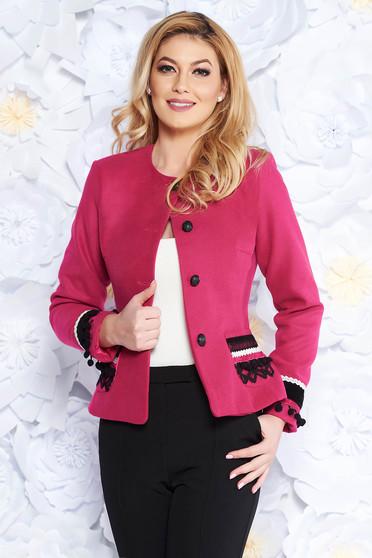 35eaad016d Pink LaDonna elegáns gyapjú blézer karcsusított szabás belső béléssel  kézzel varrott díszítésekk