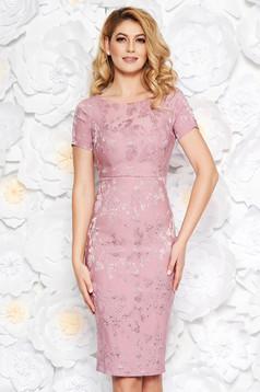 Rózsaszínű alkalmi midi ceruza ruha belső béléssel