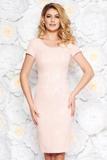 Világos rózsaszín alkalmi midi ceruza ruha belső béléssel gyöngyös díszítéssel