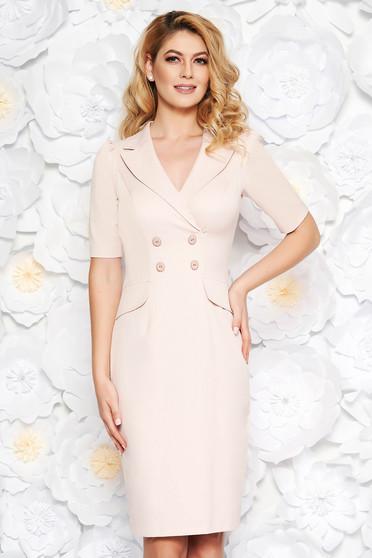 Rózsaszínű elegáns midi ceruza ruha enyhén elasztikus pamut belső béléssel gomb kiegészítőkkel