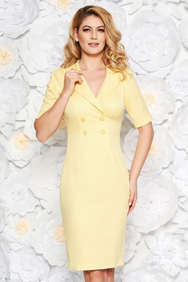 Sárga elegáns midi ceruza ruha enyhén elasztikus pamut belső béléssel gomb kiegészítőkkel
