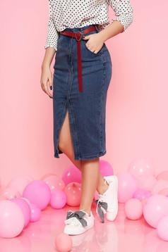 Kék Top Secret casual midi szoknya rugalmas pamut magas derekú zsebekkel