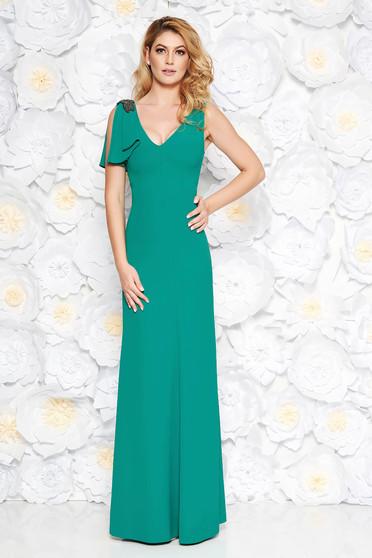 Zöld alkalmi hosszú ruha finom tapintású anyag belső béléssel gyöngyös díszítés