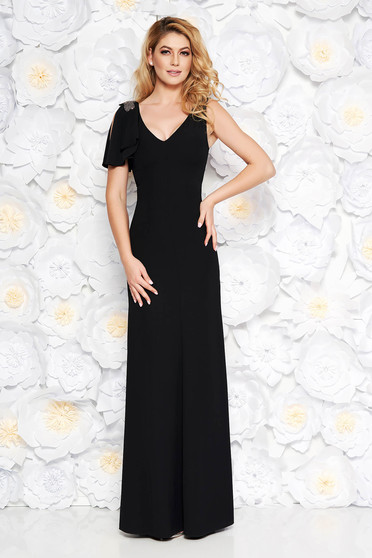 Fekete alkalmi hosszú ruha finom tapintású anyag belső béléssel gyöngyös  díszítés 2a32353398