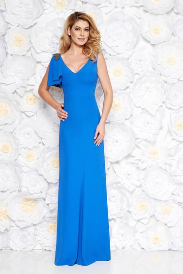 Kék alkalmi hosszú ruha finom tapintású anyag belső béléssel gyöngyös díszítéssel