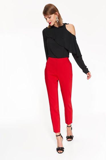 Piros Top Secret irodai kónikus nadrág enyhén elasztikus pamut zsebes normál derekú