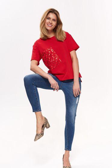 bbf663be1e Piros Top Secret casual bő szabású póló pamutból készült rövid ujjú