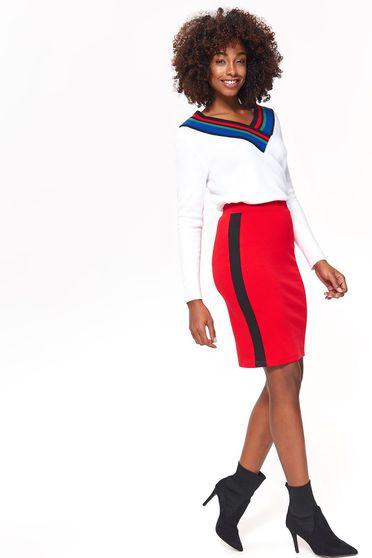 Piros Top Secret casual szoknya enyhén rugalmas anyag magas derekú szűk szabás derékban rugalmas