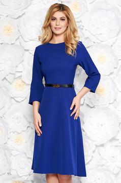 Kék irodai harang ruha enyhén elasztikus pamut zsebes öv típusú kiegészítővel