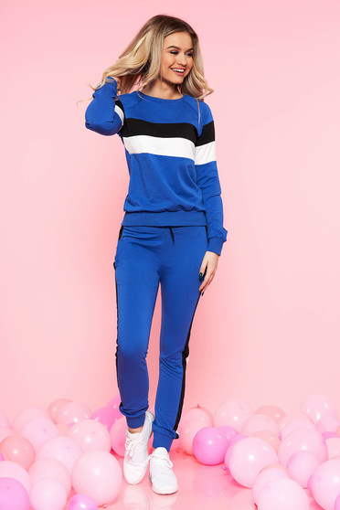 Kék SunShine casual szett enyhén elasztikus pamut zsebekkel