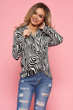 Fekete Top Secret casual bő szabású női ing lenge anyagból hosszú ujjakkal