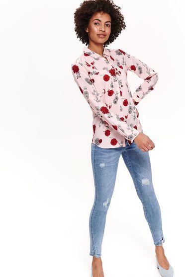 7cee234fd8 Rózsaszínű Top Secret casual női ing hosszú ujjakkal virágmintás lenge  anyagból