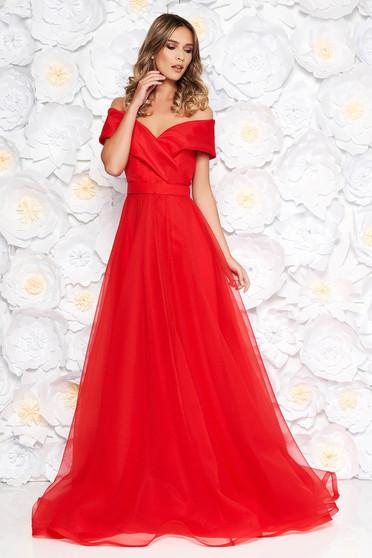 Piros Ana Radu harang ruha áttetsző anyag belső béléssel övvel ellátva