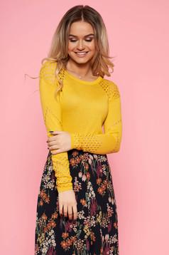 Sárga Top Secret casual pulóver szűk szabás kötött anyag hosszú ujjakkal