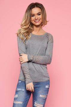 Szürke Top Secret casual pulóver szűk szabás kötött anyag hosszú ujjakkal