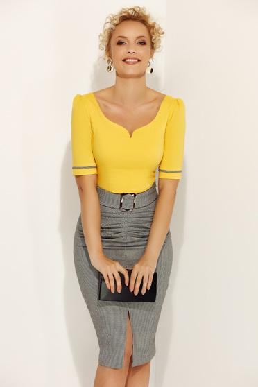 Sárga Fofy irodai szűk szabás női ing rugalmas pamut v-dekoltázzsal e4292cb56f