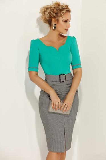 Zöld Fofy irodai szűk szabás női ing rugalmas pamut v-dekoltázzsal 665671b073