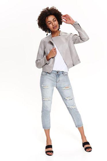 Szürke Top Secret casual műbőr dzseki belső béléssel zsebekkel