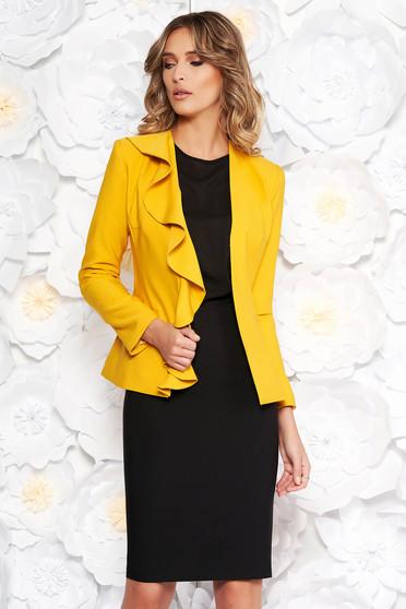Sárga LaDonna elegáns női kosztüm enyhén elasztikus szövet belső béléssel fodros