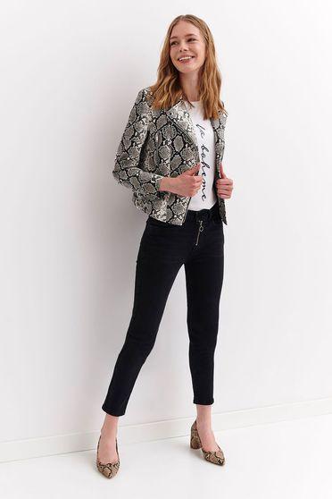 Szürke Top Secret rövid casual műbőr dzseki belső béléssel
