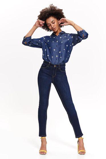 Kék Top Secret casual skinny farmer enyhén elasztikus pamut zsebekkel normál derekú