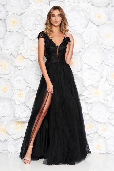 Fekete Artista alkalmi tüll harang ruha csipkés anyagból szivacsos mellrész  3d effekt virágos díszek 7a2ab7543e