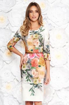 Szürke hétköznapi elegáns ruha szűk szabás enyhén rugalmas szövet virágmintás díszítéssel