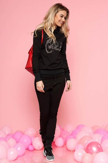 Fekete SunShine casual szett enyhén elasztikus pamut strassz köves díszítés derékban rugalmas
