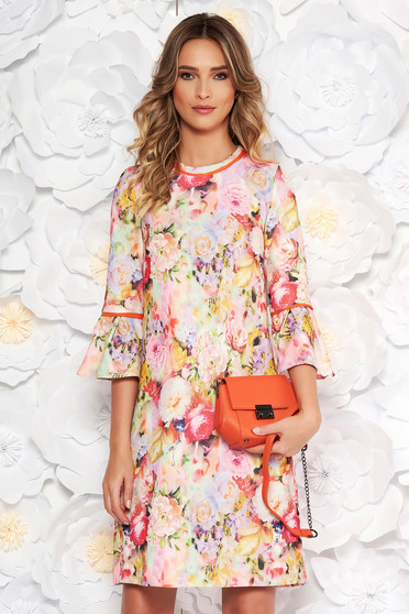 Rózsaszínű StarShinerS bő szabás irodai ruha harang ujjakkal enyhén rugalmas anyag