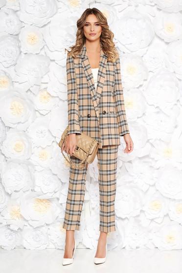 Barna StarShinerS irodai női kosztüm egyenes szabás rugalmatlan szövet belső béléssel zsebes