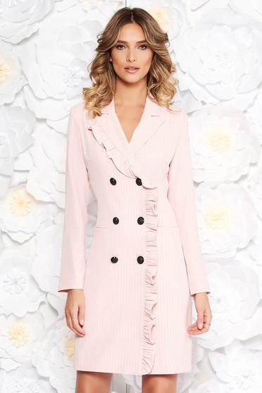 Rózsaszínű LaDonna irodai zakó tipusú ruha rugalmatlan szövet belső béléssel zsebes