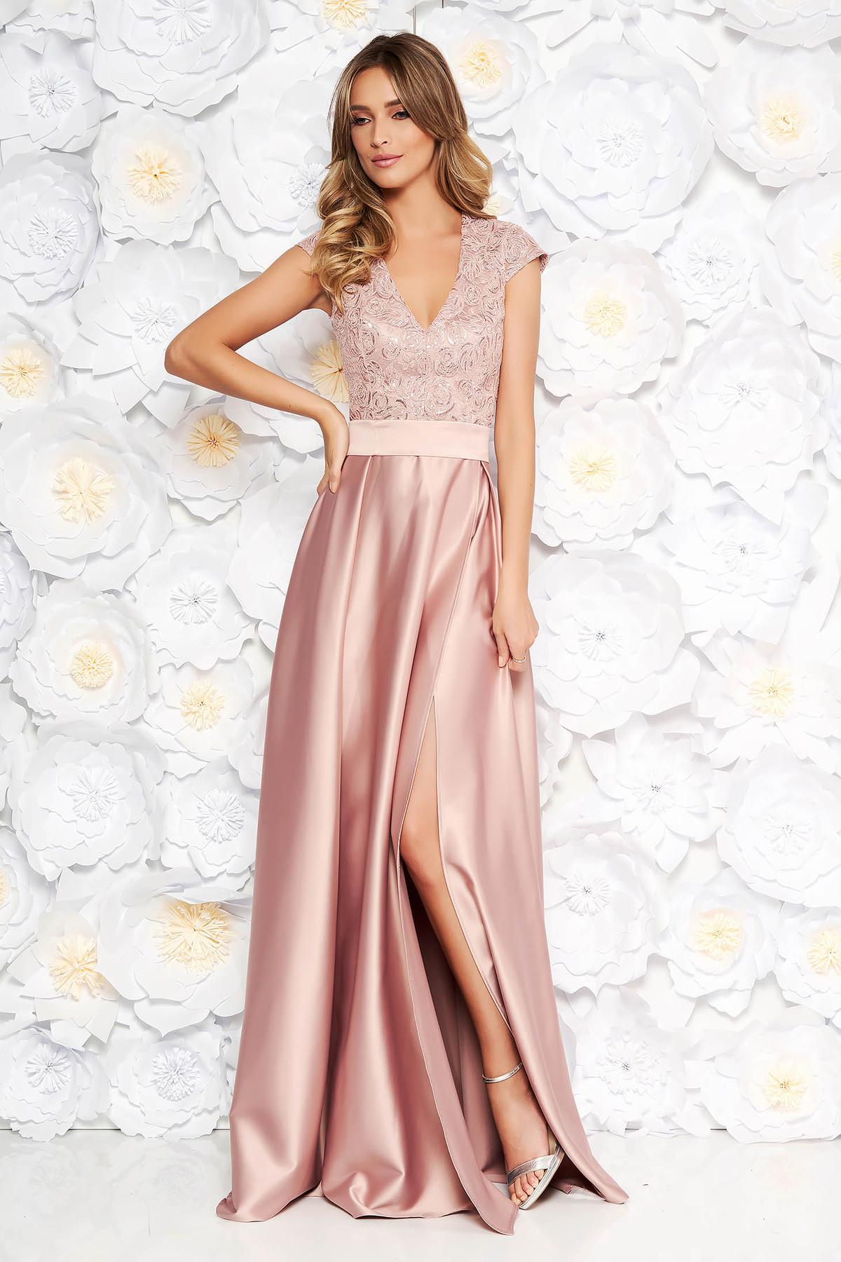 de76a0637f Rózsaszínű Artista alkalmi harang ruha v-dekoltázzsal szivacsos mellrész  szatén anyagból csipkés anyag