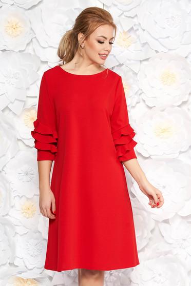275d977123 Piros ruha elegáns bő szabású enyhén rugalmas anyag fodrozott ujjakkal