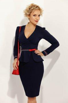 Sötétkék Fofy irodai női ing szűk szabás enyhén elasztikus pamut övvel ellátva