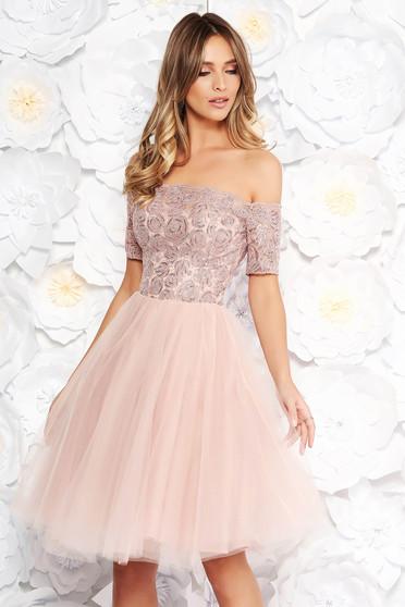 Rózsaszínű Artista alkalmi harang ruha csipkés anyag tűll szivacsos  mellrész flitteres díszítés f452c28013