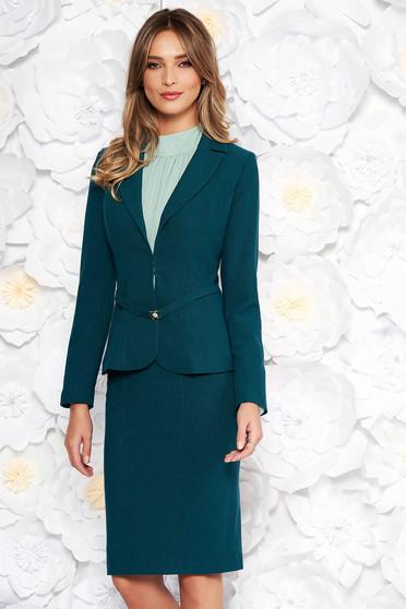Sötétzöld elegáns női kosztüm két részes szoknyával szövettel karcsusított szabás