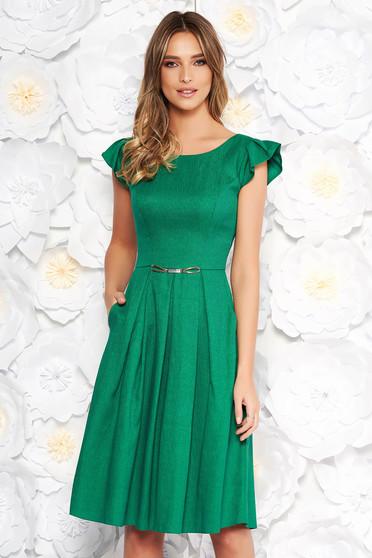 Zöld hétköznapi harang ruha rugalmatlan szövet zsebes rövid ujjakkal