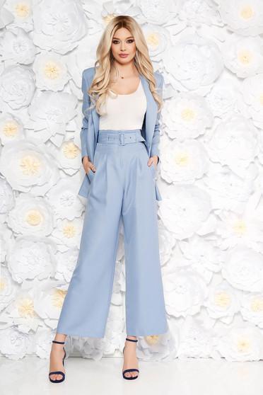 Világoskék StarShinerS női kosztüm elegáns trapéznadrág öv típusú  kiegészítővel zsebes 1357d9ffcf