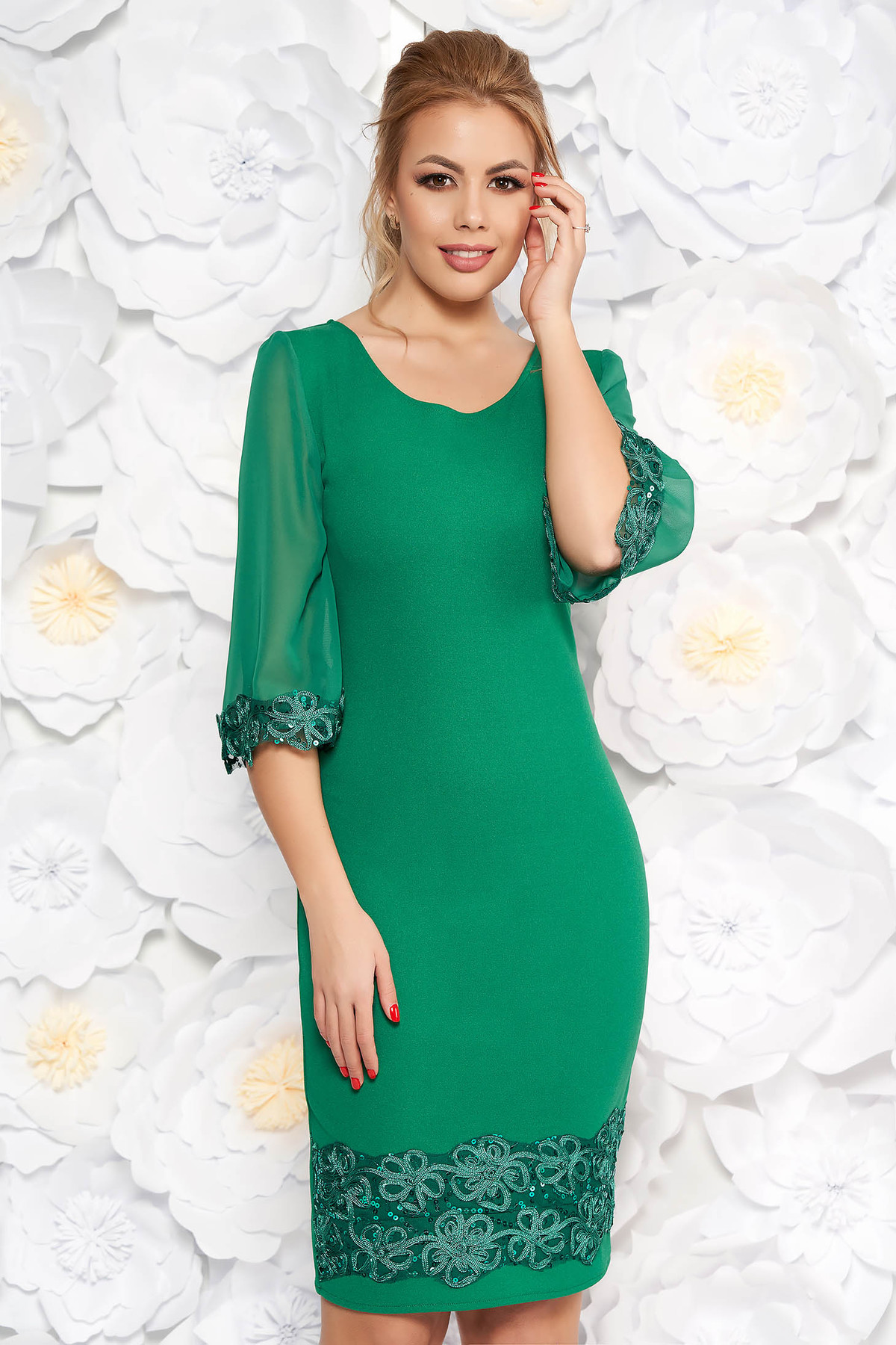 3e8d9cd470 Zöld elegáns midi ceruza ruha flitteres díszítés enyhén rugalmas anyag