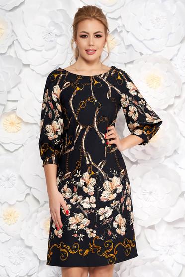 Sötétkék LaDonna elegáns bő szabású ruha virágmintás enyhén rugalmas anyag